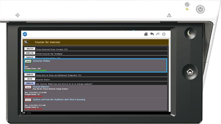 Screenshot of a Sharp scanner panel.