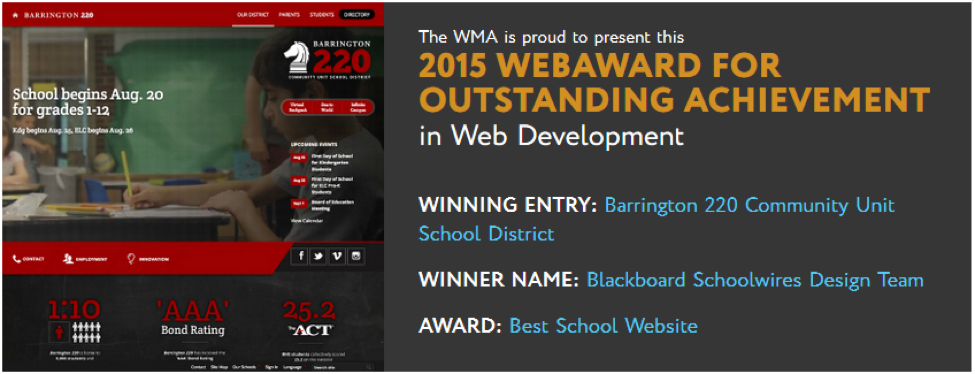 K-12 Web Design Award for Barrington 220