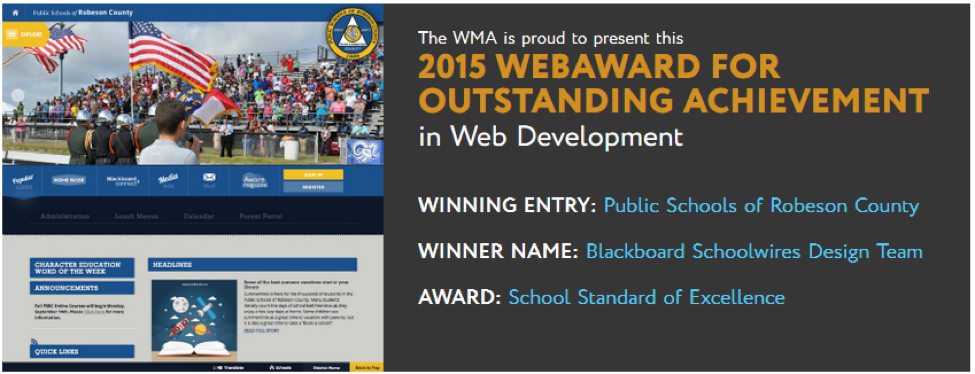 K-12 Web Design Award for Public Schools of Robeson County