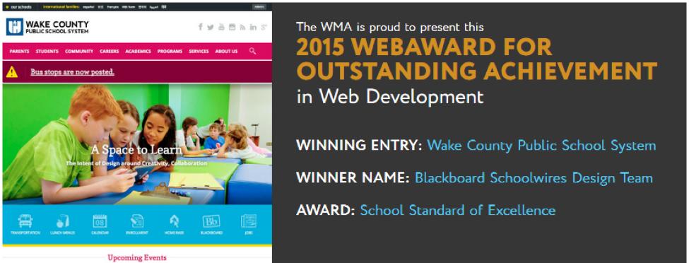 K-12 Web Design Award for Wake County PS