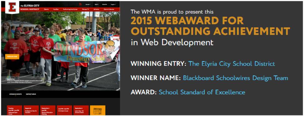 K-12 Web Design Award for Elyria City School District