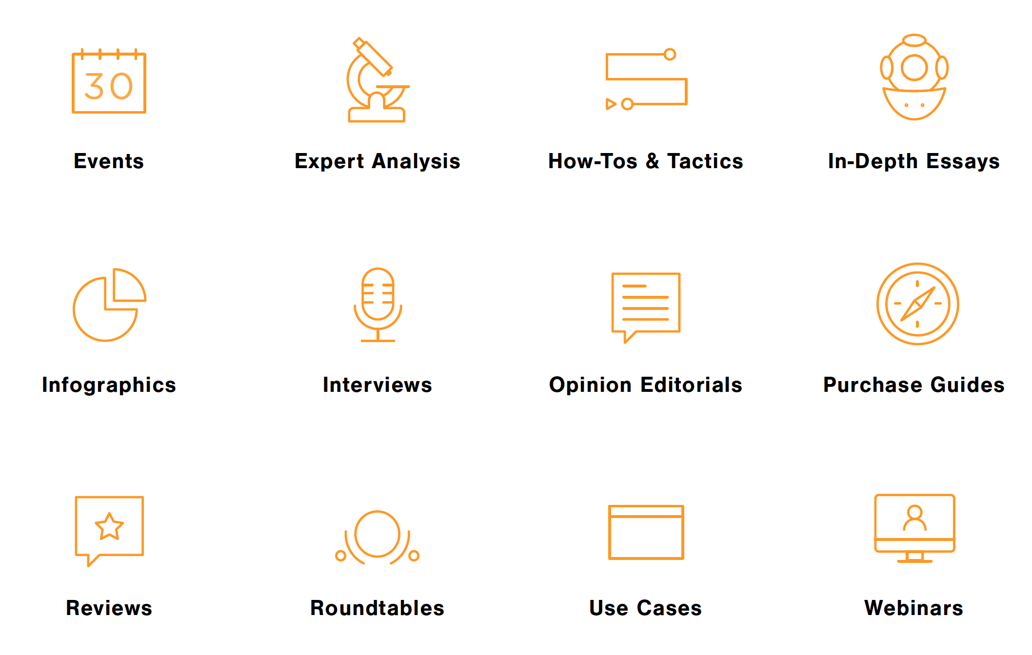 Here are some examples of content types we can work with you to develop: events, expert analysis, how-to's and tactics, in-depth essays, infographics, interviews, opinion editorials, purchase guides, reviews, roundtables, use cases, and webinars.