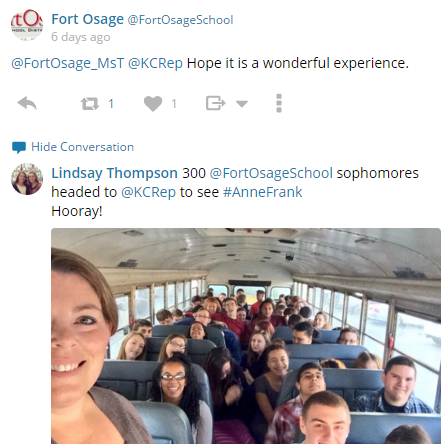 Twitter post of students and teacher