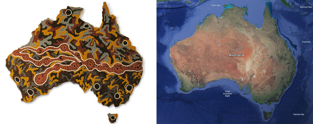 "On the left, a map of Australia represented through Songlines called ""Seven Sisters Songline"" by Josephine Mick, Pipalyatjara (1994) and on the right, an satellite image from Google Earth"