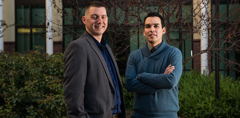 Photo (Left) David J. Rowe, Manager of Distributed Learning Technologies and (Right) Jeremy Olguin, Accessible Technology Manager at California State University-Chico