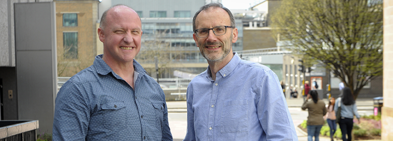 Photo (Left) Fraser McLeish is learning technologist and (Right) Jim Emery is lecturer in digital learning at Glasgow Caledonian University