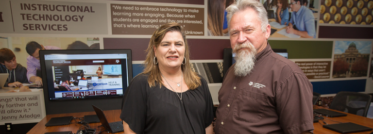 (Left) Dr. James Snell, Director of Instructional Technology Services (ITS) and (Right) Sharon Gibson-Mainka, Lead Instructional Technology Consultant for Texas A&M University.