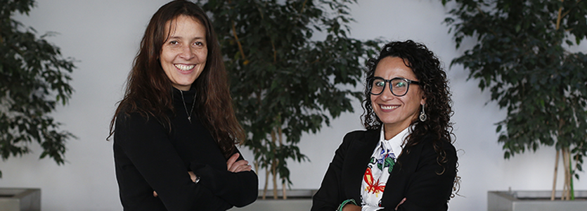Photo (Left) Verónica Águila, director of the Inclusive Education Office for the General Teaching Department in the Academic Vice-presidency and (Right) Paola Olivares Díaz, director of Education Design, Development and Teaching at UNAB Online