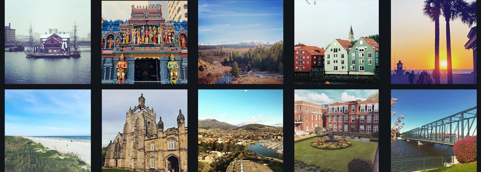10 photos displayed in two rows including snowy landscapes, diverse architecture, beachers, mountains, and rivers.