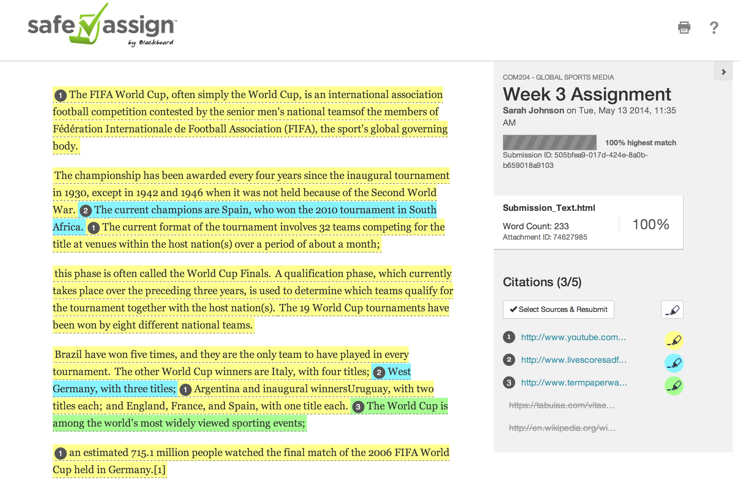 safeassign plagiarism checker
