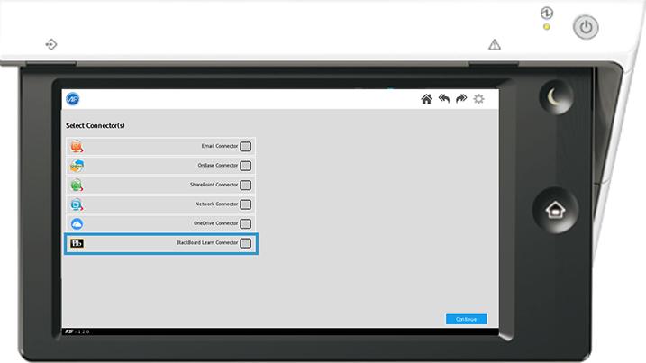 Screenshot of options on a Sharp printer panel